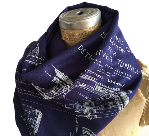 Blueprint Bamboo Scarf. Detroit Train Station Pashmina