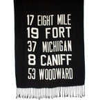 Black Detroit Bus Scroll scarf.