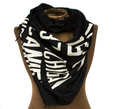 Bus Scroll Scarf: Detroit Main Routes linen weave pashmina
