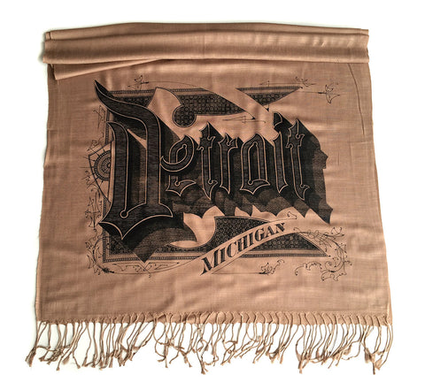 Detroit Michigan Scarf. Linen-weave pashmina
