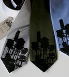 Water Towers Necktie. Black on silver, olive, periwinkle.