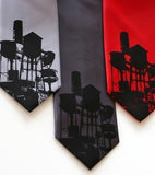Water Towers Necktie. Black on silver, charcoal, red.
