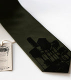 Water Towers Necktie, by Cyberoptix. Black on olive microfiber.