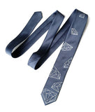 gem necktie, gunmetal grey