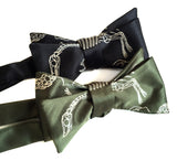 Dinosaur bow tie: olive green, black