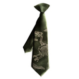 Olive green Dinosaur Bones boys clip-on tie, by Cyberoptix.