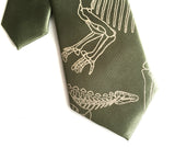 Sage green Dinosaur Skeleton kids clip on tie