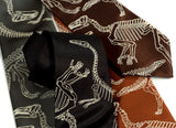 Dinosaur neckties. Warm cream on black, olive, cinnamon, dk brown microfiber.