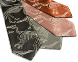 Dinosaur ties: Warm cream on olive, sage, pale copper, cinnamon microfiber.