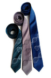 DNA Necktie: silver on dark teal; black on oyster, silver on french blue..