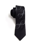 DNA tie: Silver ink on black.
