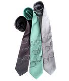 DNA Silk Necktie: Silver on charcoal; black on mint; black on silver.