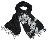 Dragon Print Scarf, silver on black. By Cyberoptix