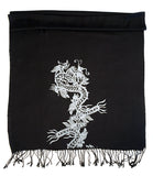 Black Chinese Dragon Print Scarf, silver on black. By Cyberoptix
