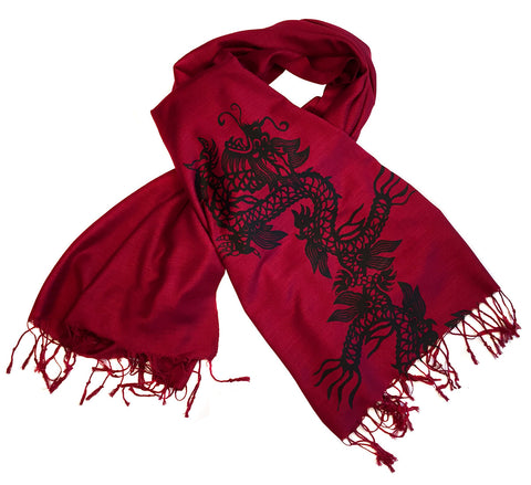 Chinese Dragon Scarf, Linen Weave Pashmina