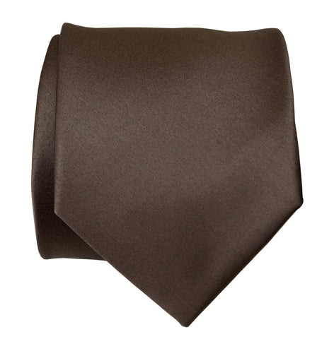 Driftwood Necktie. Solid Color Dark Brown Satin Finish Tie, No Print