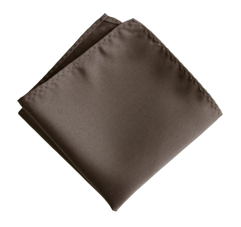 Driftwood Pocket Square. Solid Color Dark Brown Satin Finish, No Print