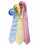 Pastel Library ties, by Cyberoptix. Black print on sky, butter, pink.
