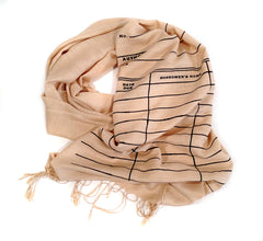 Library Date Due Card Scarf. Linen-weave pashmina