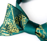 Pea green ink on an emerald bow tie.