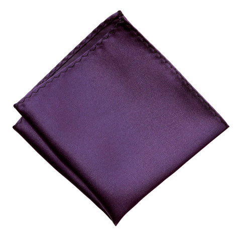 Eggplant Pocket Square. Dark Purple Solid Color Satin Finish, No Print