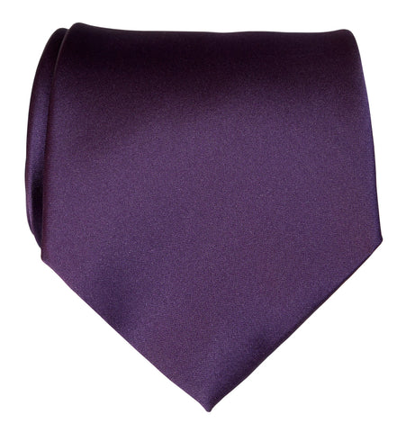 Eggplant Necktie. Dark Purple Solid Color Satin Finish Tie, No Print