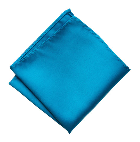 Electric Blue Pocket Square. Solid Color Satin Finish, No Print