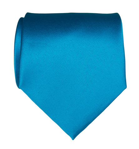 Electric Blue Necktie. Solid Color Satin Finish Tie, No Print