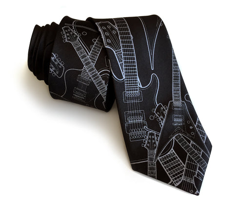 Electric Guitar necktie. Silk guitar tie.