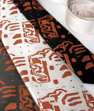 Circuit board neckties, by cyberoptix. Copper ink on emerald standard, cream narrow and black skinny microfiber.