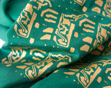 green and gold circuit board scarf