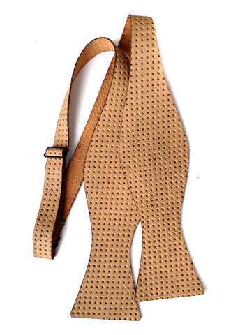 Tan Embossed Automotive Leather Bow Tie