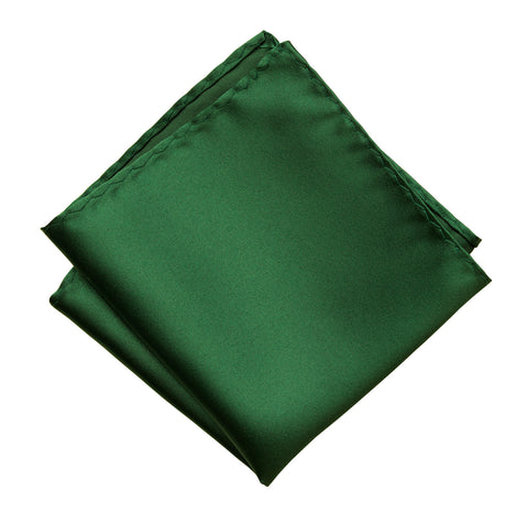 Emerald Green Pocket Square. Dark Green Solid Color Satin Finish, No Print