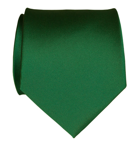 Emerald Green Necktie. Dark Green Solid Color Satin Finish Tie, No Print
