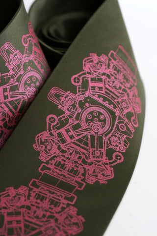 Engine Rosette Silk Necktie