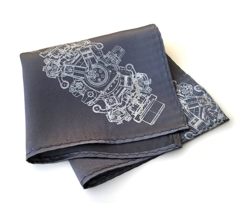 Engine Rosette Silk Pocket Square