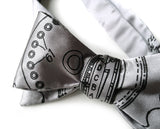 Silver Enigma Machine bow tie.