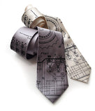 Enigma Machine Necktie. Black ink on silver, cream.