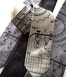 Enigma Machine Necktie. Black ink on cream, silver, charcoal.