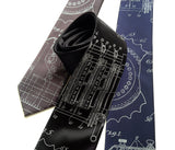 Enigma Machine Necktie. Pale grey on black, charcoal, navy.