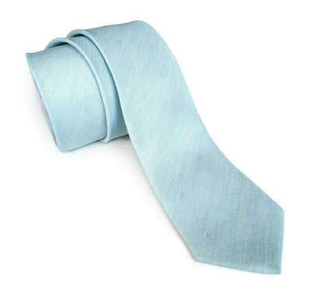 Pale Turquoise Linen Necktie. Solid Color Tie, Erie