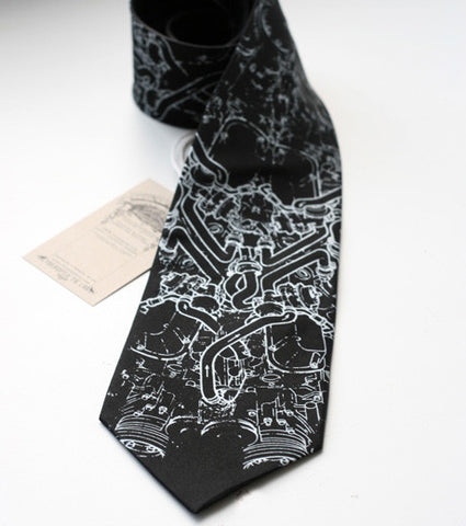 Exhaust Pipes Silk Necktie