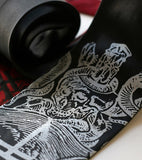 White ink on black, black ink on red.