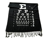 Eye Chart scarf: white on black.