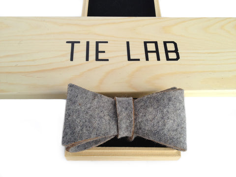 Light Grey Industrial Felt Bow Tie