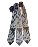 Fern necktie: pale grey on gunmetal, dark silver, driftwood.