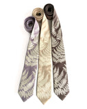 Fern necktie: ivory-cream on oyster; soft gold; driftwood.