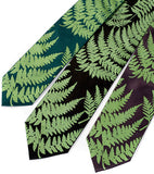 Fern neckties: chartreuse on emerald, black, charcoal microfiber.