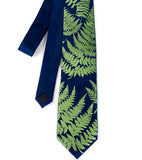 Fern necktie: Chartreuse ink on french blue.