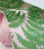 Fern necktie: Chartreuse on light pink.